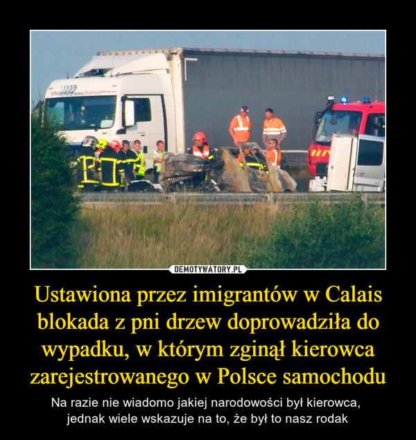 Ustawiona przez imigrantów w Calais blokada z pni drzew doprowadziła do wypadku, w którym zginął kierowca zarejestrowanego w Polsce samochodu – Na razie nie wiadomo jakiej narodowości był kierowca, jednak wiele wskazuje na to, że był to nasz rodak
