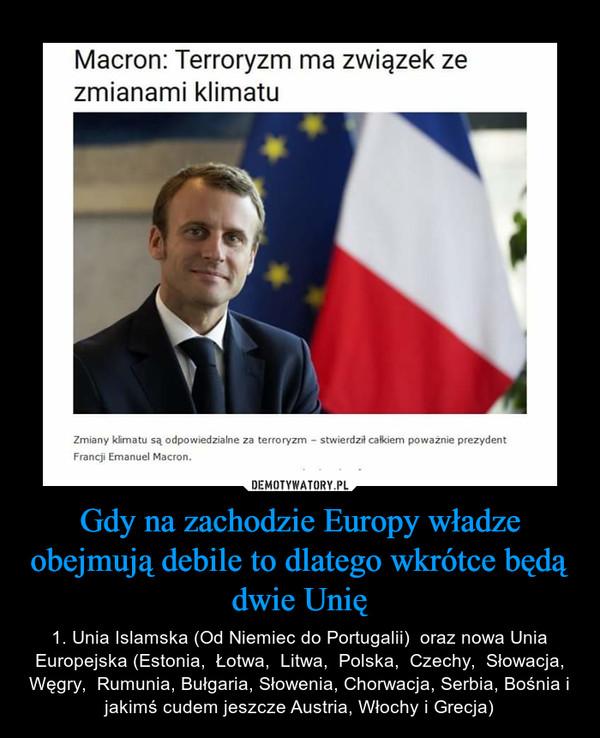 Gdy na zachodzie Europy władze obejmują debile to dlatego wkrótce będą dwie Unię – 1. Unia Islamska (Od Niemiec do Portugalii)  oraz nowa Unia Europejska (Estonia,  Łotwa,  Litwa,  Polska,  Czechy,  Słowacja, Węgry,  Rumunia, Bułgaria, Słowenia, Chorwacja, Serbia, Bośnia i jakimś cudem jeszcze Austria, Włochy i Grecja)