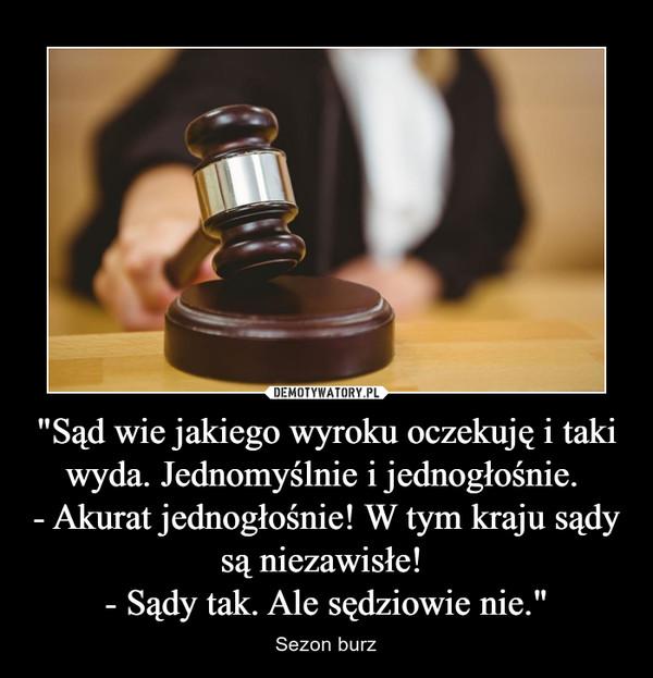 """""""Sąd wie jakiego wyroku oczekuję i taki wyda. Jednomyślnie i jednogłośnie.  - Akurat jednogłośnie! W tym kraju sądy są niezawisłe!  - Sądy tak. Ale sędziowie nie."""""""