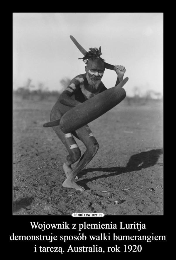 Wojownik z plemienia Luritja demonstruje sposób walki bumerangiem i tarczą. Australia, rok 1920 –