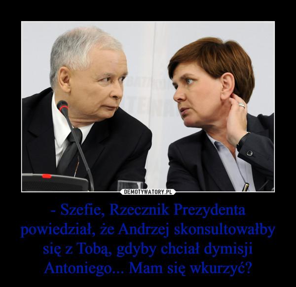 - Szefie, Rzecznik Prezydenta powiedział, że Andrzej skonsultowałby się z Tobą, gdyby chciał dymisji Antoniego... Mam się wkurzyć? –