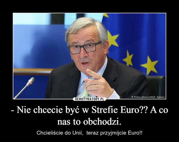 - Nie chcecie być w Strefie Euro?? A co nas to obchodzi. – Chcieliście do Unii,  teraz przyjmijcie Euro!!