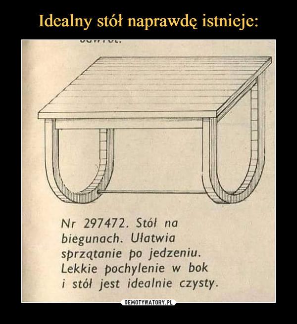 –  Stół na biegunach. Ułatwia sprzątanie po jedzeniu. lekkie pochylenie w bok i stół idealnie czysty