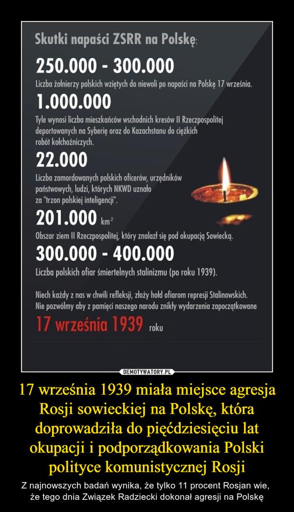 17 września 1939 miała miejsce agresja Rosji sowieckiej na Polskę, która doprowadziła do pięćdziesięciu lat okupacji i podporządkowania Polski polityce komunistycznej Rosji – Z najnowszych badań wynika, że tylko 11 procent Rosjan wie, że tego dnia Związek Radziecki dokonał agresji na Polskę Skutki napaści ZSRR na Polskę:250 000 - 300 000 Liczba żołnierzy polskich wziętych do niewoli po napaści na Polskę 17 września1 000 000Tyle wynosi liczba mieszkańców wschodnich kresów II Rzeczypospolitej deportowanych na Syberię oraz do Kazachstanu do ciężkich robót kołchoźniczych22 000Liczba zamordowanych polskich oficerów, urzędników państwowych, ludzi NKWD uznało za trzon polskiej inteligencji201 000 kmObszar ziem II Rzeczypospolitej, które znalazły się pod okupacją 300 000 - 400 000 Liczba polskich ofiar śmiertelnych stalinizmu po roku 1939Niech każdy z nas w chwili refleksji złoży hołd ofiarom represji stalinowskich. Nie pozwólmy aby z pamięci naszego narodu znikły wydarzenia zapoczątkowane 17 września 1939 roku