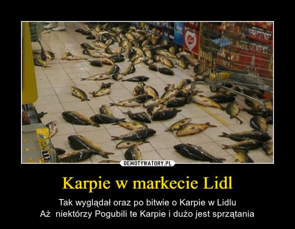 Karpie w markecie Lidl – Tak wyglądał oraz po bitwie o Karpie w LidluAż  niektórzy Pogubili te Karpie i dużo jest sprzątania