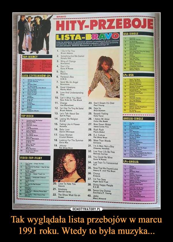 Tak wyglądała lista przebojów w marcu 1991 roku. Wtedy to była muzyka... –
