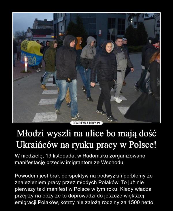 Młodzi wyszli na ulice bo mają dość Ukraińców na rynku pracy w Polsce! – W niedzielę, 19 listopada, w Radomsku zorganizowano manifestację przeciw imigrantom ze Wschodu.Powodem jest brak perspektyw na podwyżki i porblemy ze znalezieniem pracy przez młodych Polaków. To już nie pierwszy taki manifest w Polsce w tym roku. Kiedy władza przejrzy na oczy że to doprowadzi do jeszcze większej emigracji Polaków, kótrzy nie założą rodziny za 1500 netto!