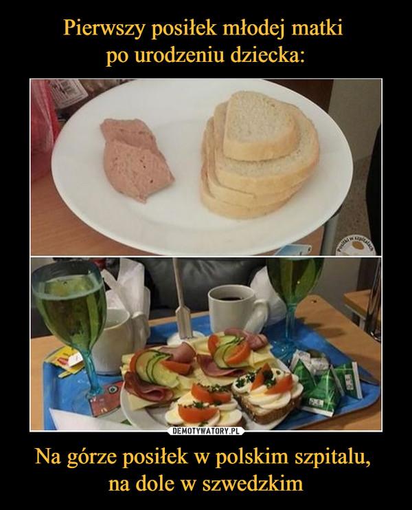 Na górze posiłek w polskim szpitalu, na dole w szwedzkim –