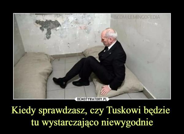 Kiedy sprawdzasz, czy Tuskowi będzie tu wystarczająco niewygodnie –