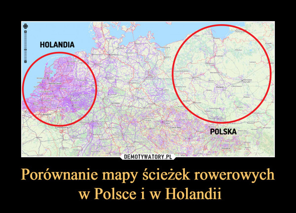 Porównanie mapy ścieżek rowerowych w Polsce i w Holandii –
