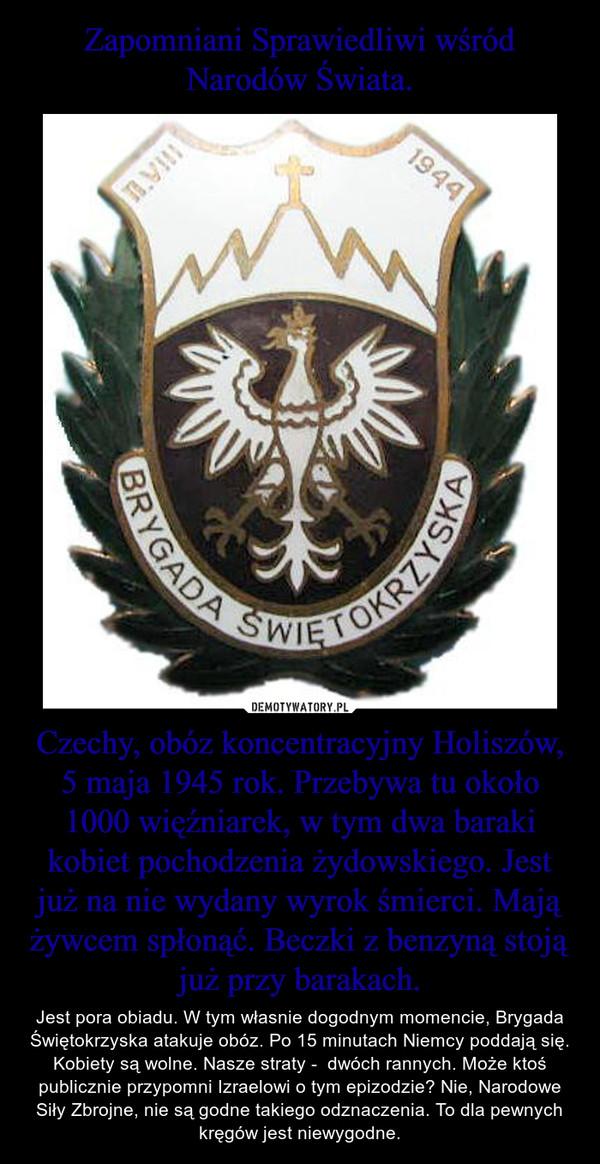 Czechy, obóz koncentracyjny Holiszów, 5 maja 1945 rok. Przebywa tu około 1000 więźniarek, w tym dwa baraki kobiet pochodzenia żydowskiego. Jest już na nie wydany wyrok śmierci. Mają żywcem spłonąć. Beczki z benzyną stoją już przy barakach. – Jest pora obiadu. W tym własnie dogodnym momencie, Brygada Świętokrzyska atakuje obóz. Po 15 minutach Niemcy poddają się. Kobiety są wolne. Nasze straty -  dwóch rannych. Może ktoś publicznie przypomni Izraelowi o tym epizodzie? Nie, Narodowe Siły Zbrojne, nie są godne takiego odznaczenia. To dla pewnych kręgów jest niewygodne.