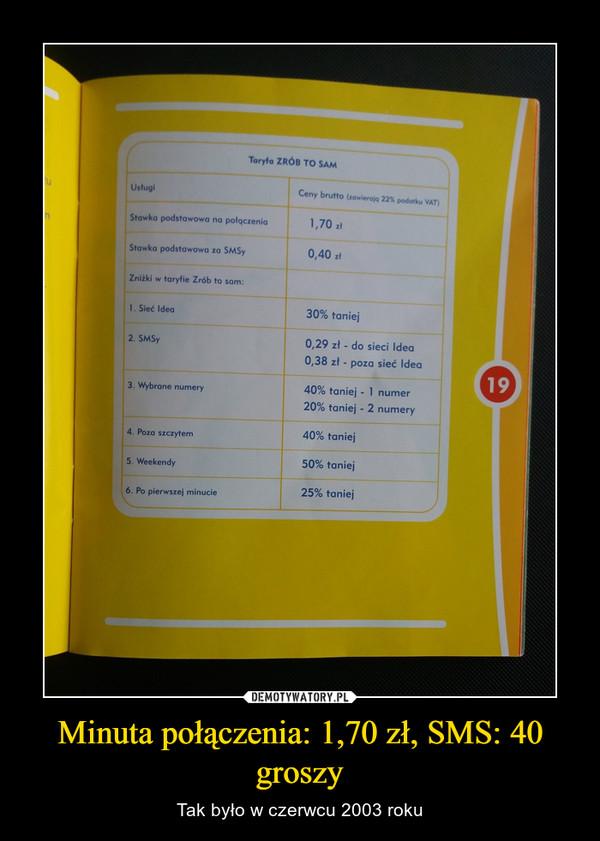 Minuta połączenia: 1,70 zł, SMS: 40 groszy – Tak było w czerwcu 2003 roku