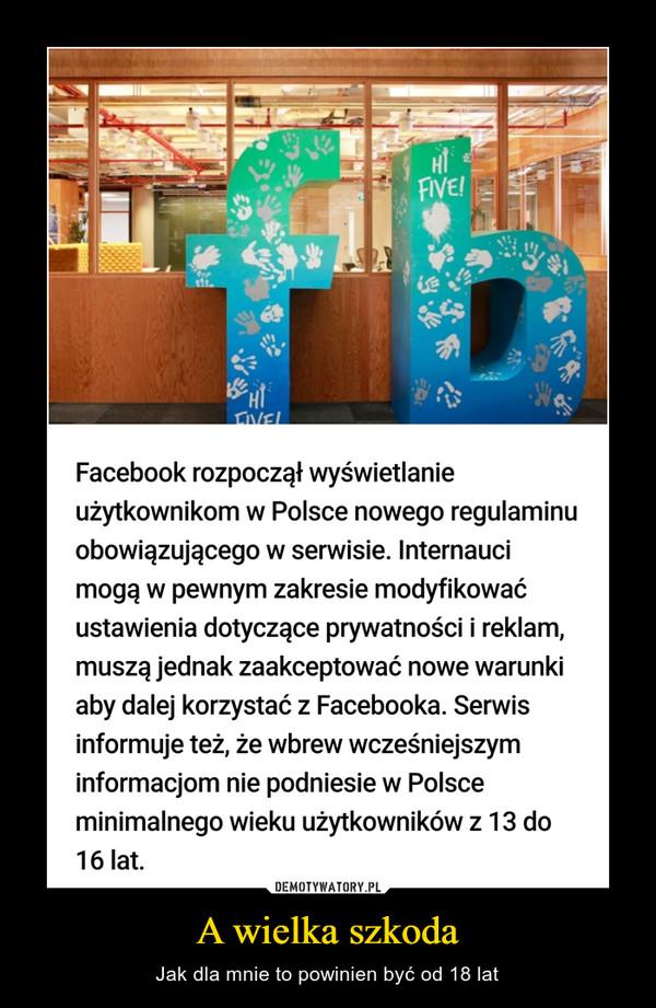 A wielka szkoda – Jak dla mnie to powinien być od 18 lat FVEFacebook rozpoczął wyświetlanieużytkownikom w Polsce nowego regulaminuobowiązującego w serwisie. Internaucimogą w pewnym zakresie modyfikowaćustawienia dotyczące prywatności i reklam,muszą jednak zaakceptować nowe warunkiaby dalej korzystać z Facebooka. Serwisinformuje też, że wbrew wcześniejszyminformacjom nie podniesie w Polsceminimalnego wieku użytkowników z 13 do16 lat.