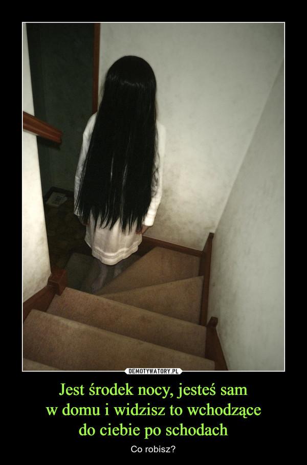 Jest środek nocy, jesteś samw domu i widzisz to wchodzącedo ciebie po schodach – Co robisz?