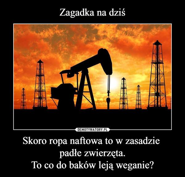 Skoro ropa naftowa to w zasadzie padłe zwierzęta.To co do baków leją weganie? –