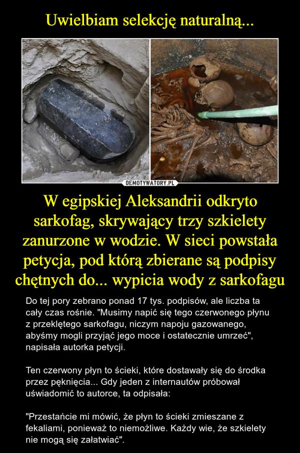 """W egipskiej Aleksandrii odkryto sarkofag, skrywający trzy szkielety zanurzone w wodzie. W sieci powstała petycja, pod którą zbierane są podpisy chętnych do... wypicia wody z sarkofagu – Do tej pory zebrano ponad 17 tys. podpisów, ale liczba ta cały czas rośnie. """"Musimy napić się tego czerwonego płynu z przeklętego sarkofagu, niczym napoju gazowanego, abyśmy mogli przyjąć jego moce i ostatecznie umrzeć"""", napisała autorka petycji. Ten czerwony płyn to ścieki, które dostawały się do środka przez pęknięcia... Gdy jeden z internautów próbował uświadomić to autorce, ta odpisała:""""Przestańcie mi mówić, że płyn to ścieki zmieszane z fekaliami, ponieważ to niemożliwe. Każdy wie, że szkielety nie mogą się załatwiać""""."""