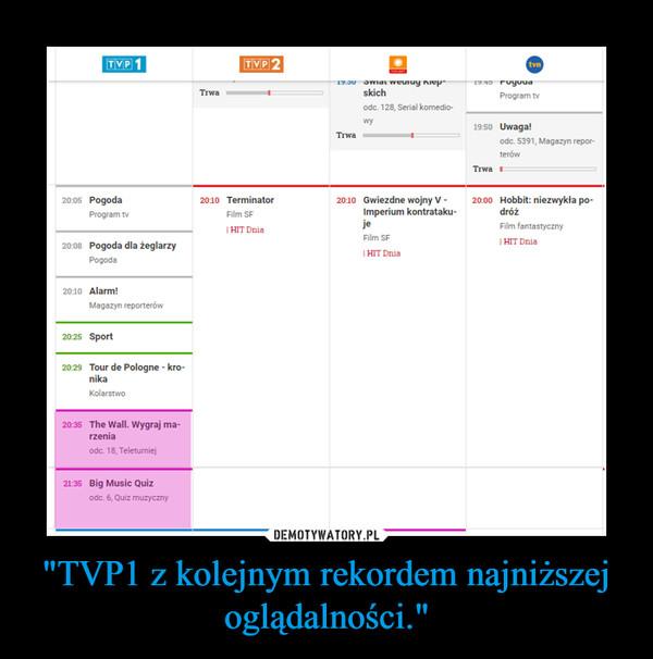 """""""TVP1 z kolejnym rekordem najniższej oglądalności."""" –"""