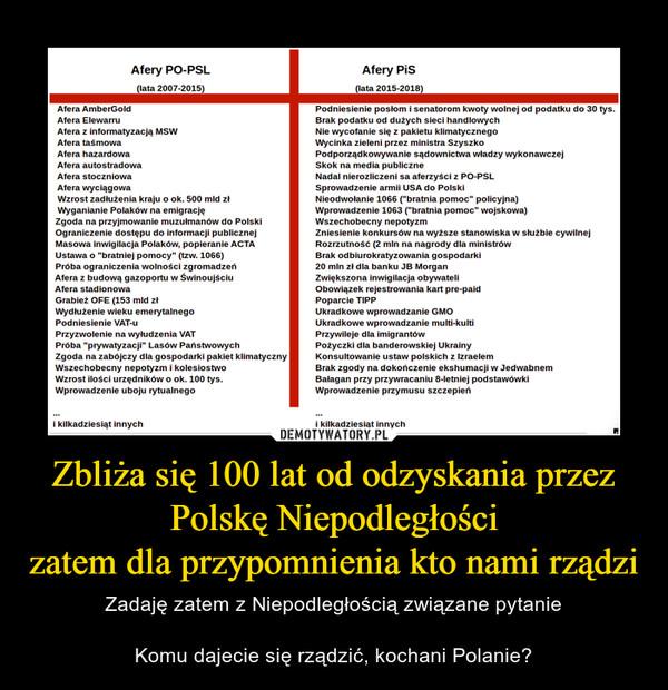 Zbliża się 100 lat od odzyskania przez Polskę Niepodległościzatem dla przypomnienia kto nami rządzi – Zadaję zatem z Niepodległością związane pytanieKomu dajecie się rządzić, kochani Polanie?