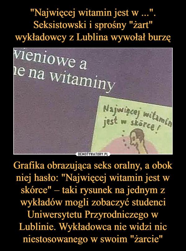 """Grafika obrazująca seks oralny, a obok niej hasło: """"Najwięcej witamin jest w skórce"""" – taki rysunek na jednym z wykładów mogli zobaczyć studenci Uniwersytetu Przyrodniczego w Lublinie. Wykładowca nie widzi nic niestosowanego w swoim """"żarcie"""" –  Najwięcej witamin jest w skórce"""