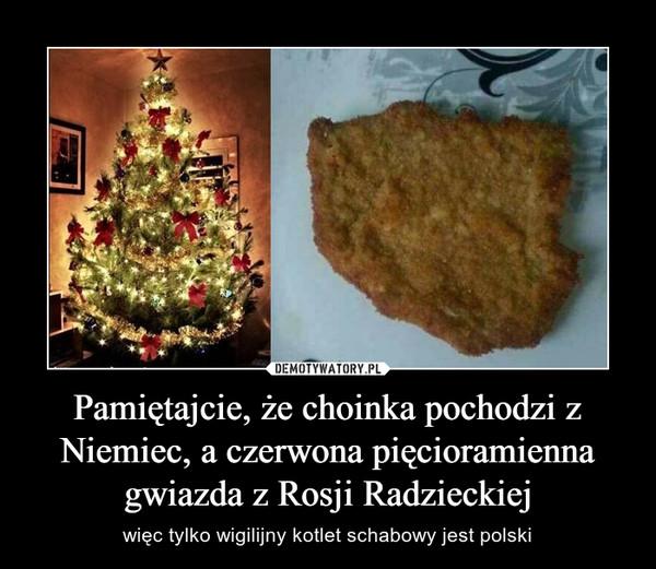 Pamiętajcie, że choinka pochodzi z Niemiec, a czerwona pięcioramienna gwiazda z Rosji Radzieckiej – więc tylko wigilijny kotlet schabowy jest polski