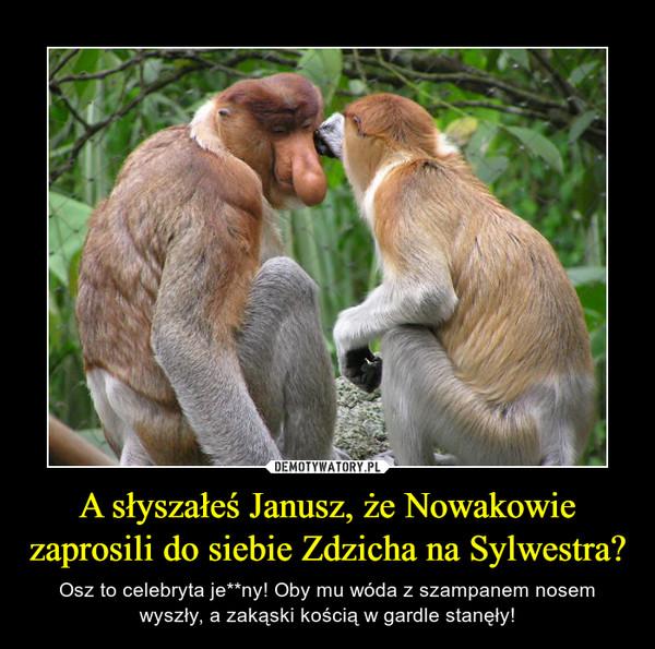 A słyszałeś Janusz, że Nowakowie zaprosili do siebie Zdzicha na Sylwestra? – Osz to celebryta je**ny! Oby mu wóda z szampanem nosem wyszły, a zakąski kością w gardle stanęły!