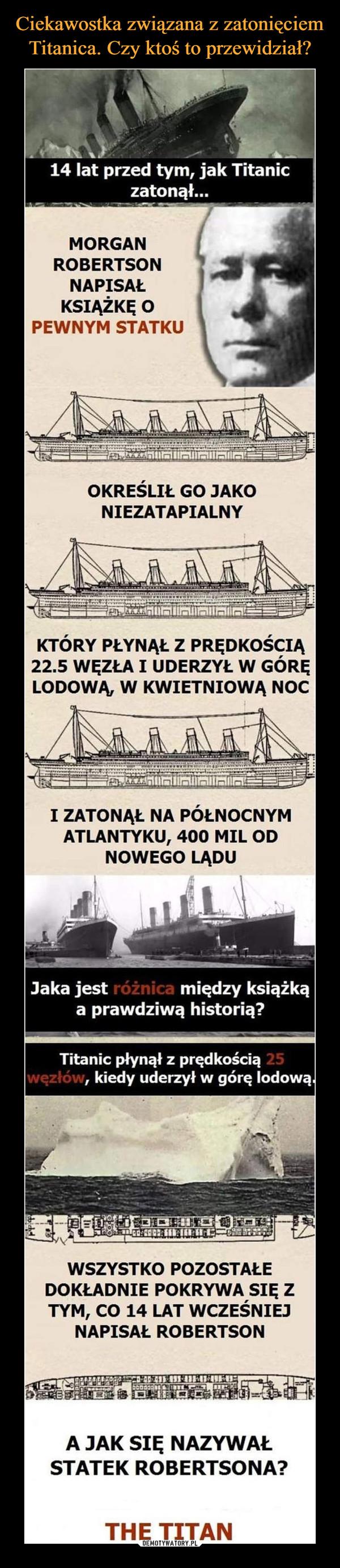 –  14 lat przed tym, jak Titanic zatonął... MORGAN ROBERTSON NAPISAŁ KSIĄŻKĘ O PEWNYM STATKU OKREŚLIŁ GO JAKO NIEZATAPIALNY KTÓRY PŁYNĄŁ Z PRĘDKOŚCIĄ 22.5 WĘZŁA 1 UDERZYŁ W GÓRĘ LODOWĄ, W KWIETNIOWĄ NOC 1 ZATONĄŁ NA PÓŁNOCNYM ATLANTYKU, 400 MIL OD NOWEGO LĄDU Jaka jest różnica między książką a prawdziwą historią? Titanic płynął z prędkością węzłów, kiedy uderzył w górę lodową. WSZYSTKO POZOSTAŁE DOKŁADNIE POKRYWA SIĘ Z TYM, CO 14 LAT WCZEŚNIEJ NAPISAŁ ROBERTSON A JAK SIĘ NAZYWAŁ STATEK ROBERTSONA? THE TITAN