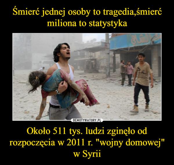 """Około 511 tys. ludzi zginęło od rozpoczęcia w 2011 r. """"wojny domowej"""" w Syrii –"""