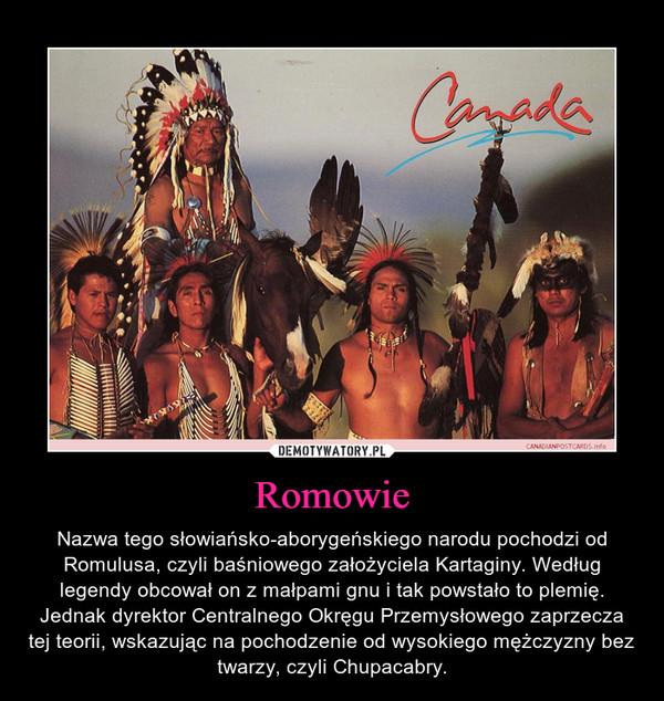 Romowie – Nazwa tego słowiańsko-aborygeńskiego narodu pochodzi od Romulusa, czyli baśniowego założyciela Kartaginy. Według legendy obcował on z małpami gnu i tak powstało to plemię. Jednak dyrektor Centralnego Okręgu Przemysłowego zaprzecza tej teorii, wskazując na pochodzenie od wysokiego mężczyzny bez twarzy, czyli Chupacabry.