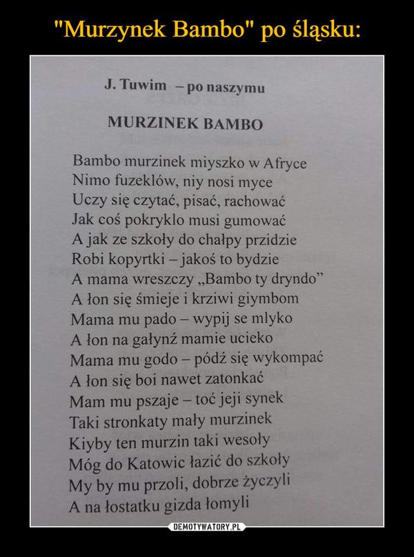 """–  J. Tuwim — po naszymu MURZINEK BAMBO Bambo murzinek miyszko w Afryce Nimo fuzeklów, niy nosi myce Uczy się czytać, pisać, rachować Jak coś pokryklo musi gumować A jak ze szkoły do chałpy przidzie Robi kopyrtki — jakoś to bydzie A mama wreszczy """"Bambo ty dryndo"""" A łon się śmieje i krziwi giymbom Mama mu pado — wypij se mlyko A łon na gałynź mamie ucieko Mama mu godo — pódź się wykompać A łon się boi nawet zatonkać Mam mu pszaje — toć jeji synek Taki stronkaty mały murzinek Kiyby ten murzin taki wesoły Móg do Katowic łazić do szkoły My by mu przoli, dobrze życzyli A na łostatku gizda łomyli"""