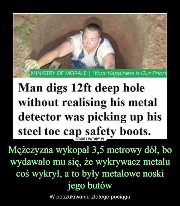 Mężczyzna wykopał 3,5 metrowy dół, bo wydawało mu się, że wykrywacz metalu coś wykrył, a to były metalowe noski jego butów – W poszukiwaniu złotego pociągu MINISTRY OF MORALE I 'Your Happiness is Our Priori Man digs 12ft deep hole without realising his metal detector was picking up his steel toe cap safety boots.