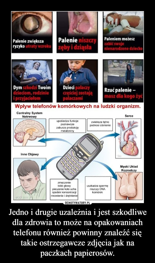 Jedno i drugie uzależnia i jest szkodliwe dla zdrowia to może na opakowaniach telefonu również powinny znaleźć się takie ostrzegawcze zdjęcia jak na paczkach papierosów. –