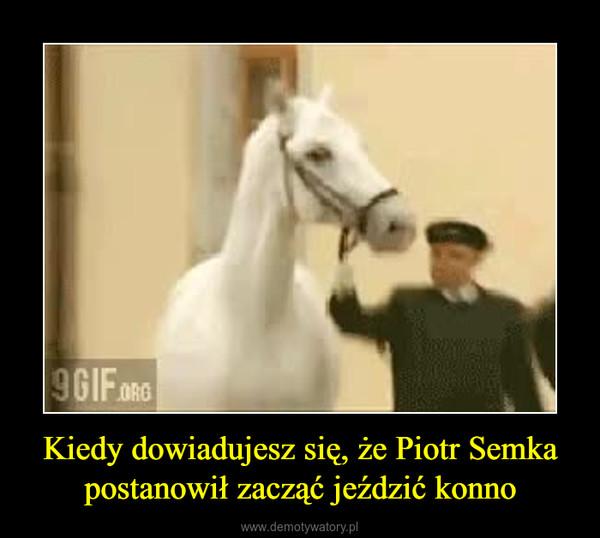 Kiedy dowiadujesz się, że Piotr Semka postanowił zacząć jeździć konno –