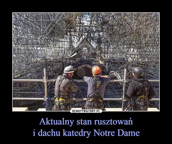 Aktualny stan rusztowańi dachu katedry Notre Dame –
