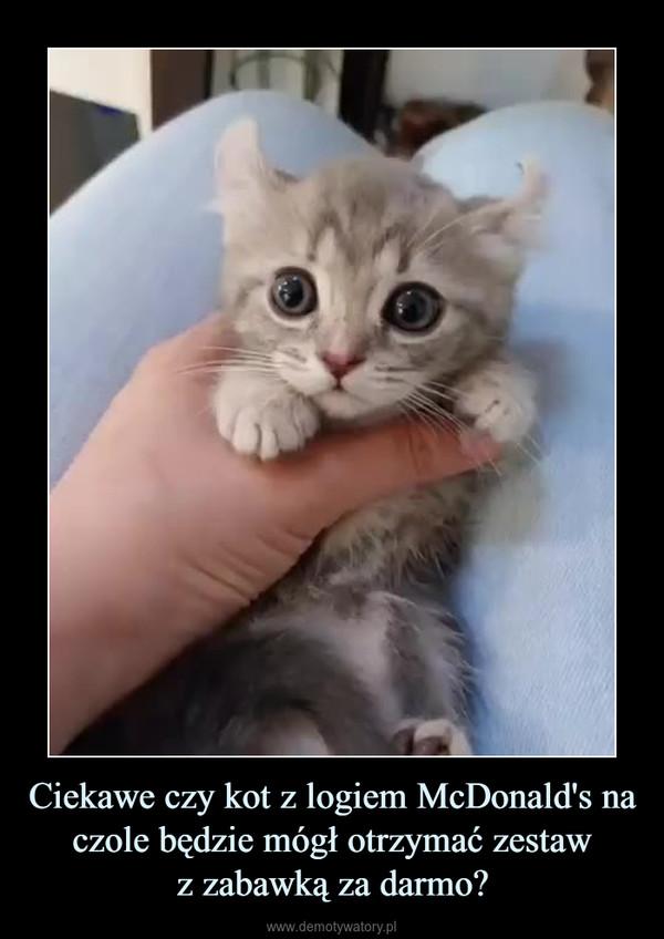 Ciekawe czy kot z logiem McDonald's na czole będzie mógł otrzymać zestawz zabawką za darmo? –