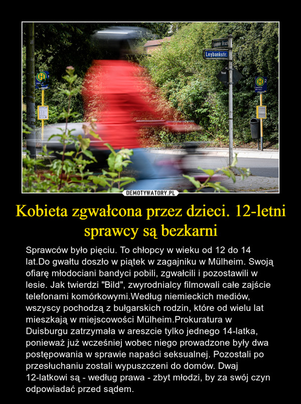 """Kobieta zgwałcona przez dzieci. 12-letni sprawcy są bezkarni – Sprawców było pięciu. To chłopcy w wieku od 12 do 14 lat.Do gwałtu doszło w piątek w zagajniku w Mülheim. Swoją ofiarę młodociani bandyci pobili, zgwałcili i pozostawili w lesie. Jak twierdzi """"Bild"""", zwyrodnialcy filmowali całe zajście telefonami komórkowymi.Według niemieckich mediów, wszyscy pochodzą z bułgarskich rodzin, które od wielu lat mieszkają w miejscowości Mülheim.Prokuratura w Duisburgu zatrzymała w areszcie tylko jednego 14-latka, ponieważ już wcześniej wobec niego prowadzone były dwa postępowania w sprawie napaści seksualnej. Pozostali po przesłuchaniu zostali wypuszczeni do domów. Dwaj 12-latkowi są - według prawa - zbyt młodzi, by za swój czyn odpowiadać przed sądem."""