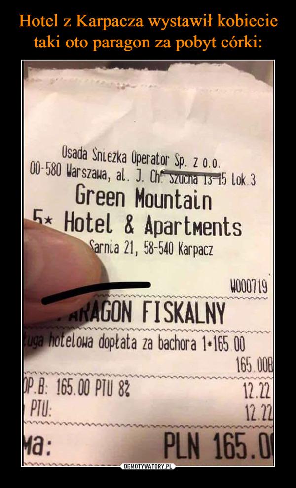 –  FISKALNY hotetowa dopŁata za bachoraGreen Mountain Hotel Pani Agnieszko, najmocniej przepraszamy za zaistniałą sytuację. Wydruk to wynik niefrasobliwego i nietaktownego komentarza jednego z naszych pracowników i wypadek poniżej wszelkiej krytyki, który absolutnie nie powinien mieć miejsca. Jesteśmy kompleksem nastawionym na rodzinne pobyty, a dzieci to nasi goście VIP, dlatego zależy nam, by czuły się u nas jak najlepiej —potwierdzają to liczne pozytywne opinie i wysokie noty wystawiane przez naszych gości po pobycie. Zapewniamy, że niestosowny komentarz, który pojawił się na wydruku w najmniejszym stopniu nie licuje z polityką i ofertą Green Mountain Hotel***** oraz Green Apartments, zaś w stosunku do autora wyciągniemy stosowne konsekwencje, aby taki incydent nie miał szans ponownie wydarzyć