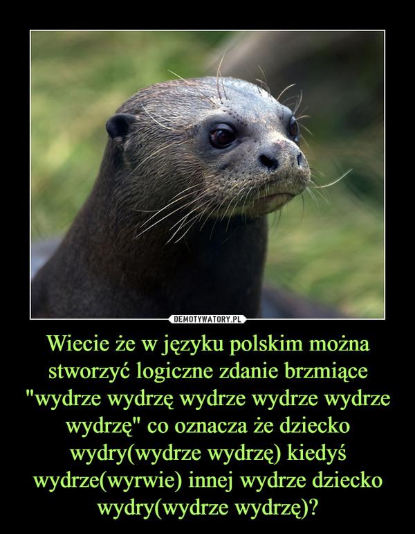 """Wiecie że w języku polskim można stworzyć logiczne zdanie brzmiące """"wydrze wydrzę wydrze wydrze wydrze wydrzę"""" co oznacza że dziecko wydry(wydrze wydrzę) kiedyś wydrze(wyrwie) innej wydrze dziecko wydry(wydrze wydrzę)? –"""