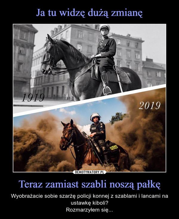 Teraz zamiast szabli noszą pałkę – Wyobrażacie sobie szarżę policji konnej z szablami i lancami na ustawkę kiboli?Rozmarzyłem się...