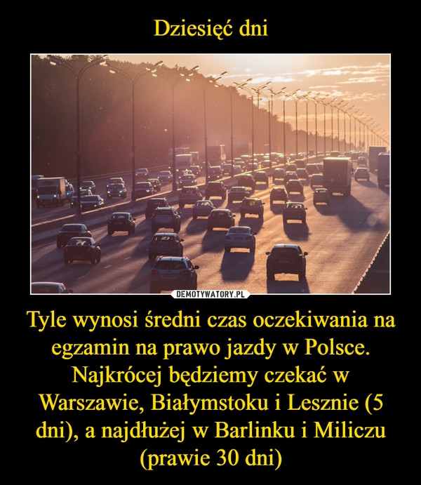 Tyle wynosi średni czas oczekiwania na egzamin na prawo jazdy w Polsce. Najkrócej będziemy czekać w Warszawie, Białymstoku i Lesznie (5 dni), a najdłużej w Barlinku i Miliczu (prawie 30 dni) –