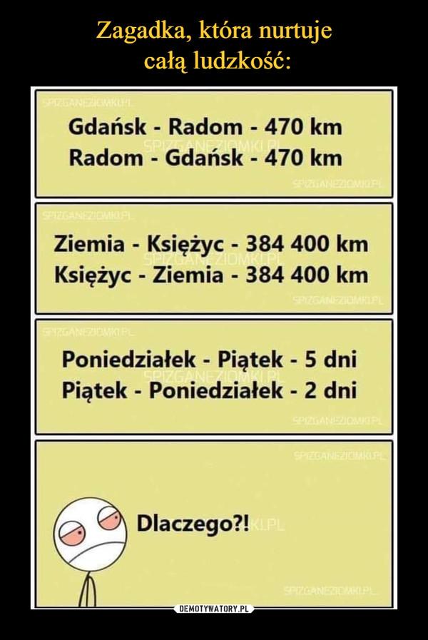 –  Gdańsk - Radom - 470 kmRadom - Gdańsk - 470 kmZiemia -Księżyc -384 400 kmKsiężyc- Ziemia -384 400 kmPoniedziałek - Piątek - 5 dniPiątek - Poniedziałek - 2 dniDlaczego?!