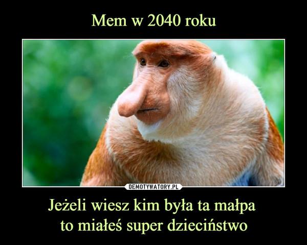 Jeżeli wiesz kim była ta małpa to miałeś super dzieciństwo –