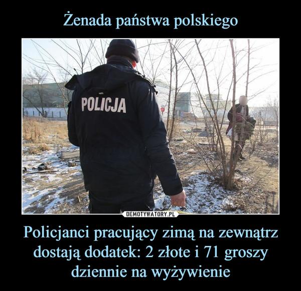 Policjanci pracujący zimą na zewnątrz dostają dodatek: 2 złote i 71 groszy dziennie na wyżywienie –