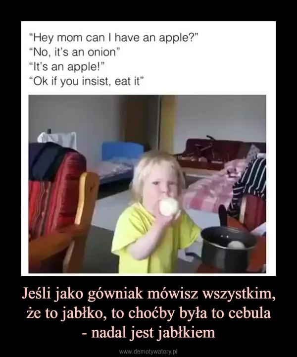 Jeśli jako gówniak mówisz wszystkim, że to jabłko, to choćby była to cebula- nadal jest jabłkiem –
