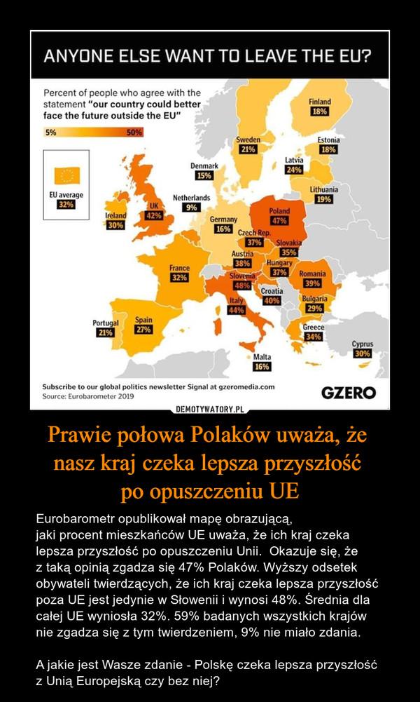 Prawie połowa Polaków uważa, że nasz kraj czeka lepsza przyszłość po opuszczeniu UE – Eurobarometr opublikował mapę obrazującą,jaki procent mieszkańców UE uważa, że ich kraj czeka lepsza przyszłość po opuszczeniu Unii.  Okazuje się, żez taką opinią zgadza się 47% Polaków. Wyższy odsetek obywateli twierdzących, że ich kraj czeka lepsza przyszłość poza UE jest jedynie w Słowenii i wynosi 48%. Średnia dla całej UE wyniosła 32%. 59% badanych wszystkich krajów nie zgadza się z tym twierdzeniem, 9% nie miało zdania.A jakie jest Wasze zdanie - Polskę czeka lepsza przyszłość z Unią Europejską czy bez niej?