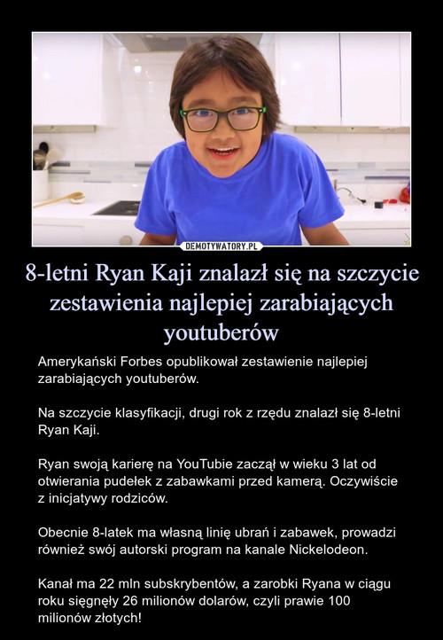 8-letni Ryan Kaji znalazł się na szczycie zestawienia najlepiej zarabiających youtuberów