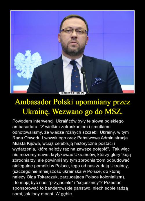 Ambasador Polski upomniany przez Ukrainę. Wezwano go do MSZ.