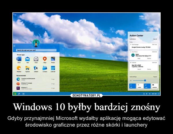 Windows 10 byłby bardziej znośny – Gdyby przynajmniej Microsoft wydałby aplikację mogąca edytować środowisko graficzne przez różne skórki i launchery
