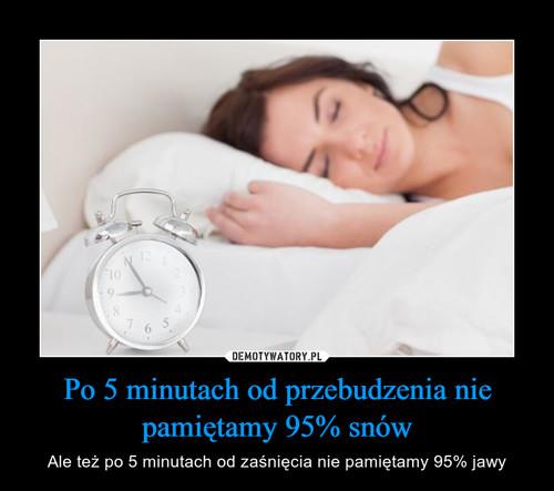 Po 5 minutach od przebudzenia nie pamiętamy 95% snów