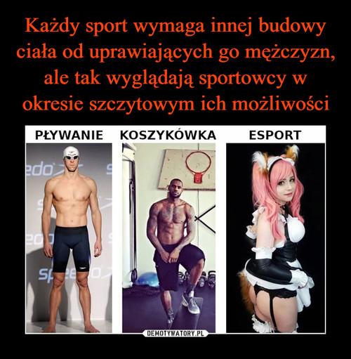 Każdy sport wymaga innej budowy ciała od uprawiających go mężczyzn, ale tak wyglądają sportowcy w okresie szczytowym ich możliwości