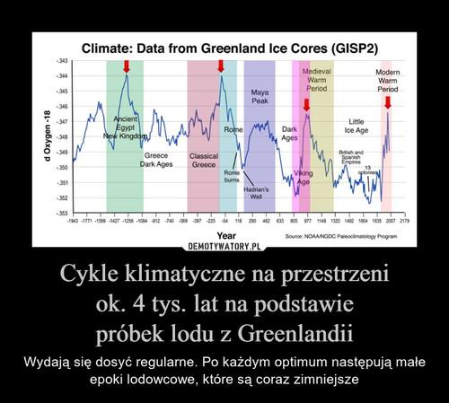 Cykle klimatyczne na przestrzeni ok. 4 tys. lat na podstawie próbek lodu z Greenlandii